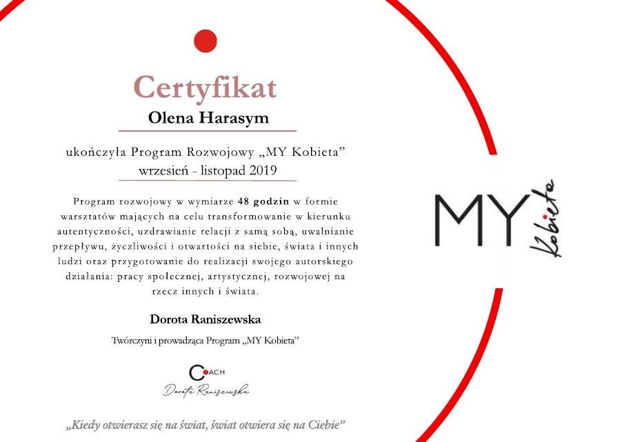 certyfikat z warsztatów My Kobieta prowadzonego przez Dorota Raniszewska